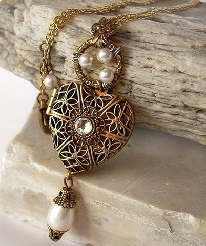 Brass Heart Locket Necklace with White Pearls - Aranwen's Jewelry  - 3