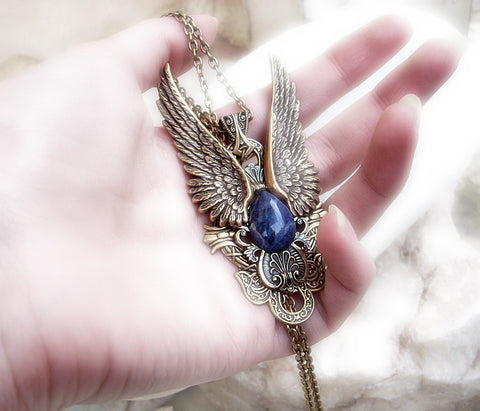 Brass Wings Jewelry Set Pendant and Earrings - Aranwen's Jewelry  - 3