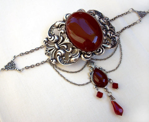 Silver Gothic Choker with Red Agate and Crystals - Aranwen's Jewelry  - 3