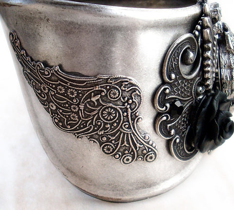 Women's Cuff Watch with Silver Wings and Black Rose - Aranwen's Jewelry  - 2