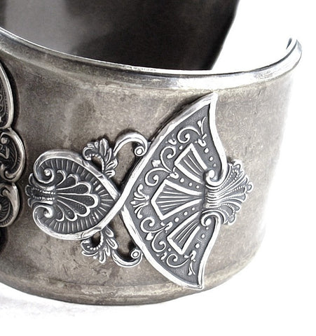 Women's Cuff Watch with Silver Wings and Black Rose - Aranwen's Jewelry  - 3