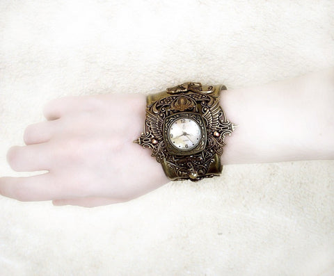 Women's Cuff Watch with Silver Wings and Black Rose - Aranwen's Jewelry  - 4