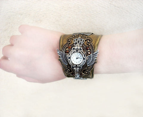Brass Steampunk Watch Cuff -b - Aranwen's Jewelry  - 3