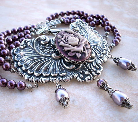 Three Strand Burgundy Pearl Choker with Purple Rose Cameo - Aranwen's Jewelry  - 3