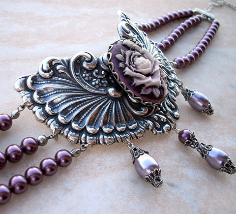 Three Strand Burgundy Pearl Choker with Purple Rose Cameo - Aranwen's Jewelry  - 5