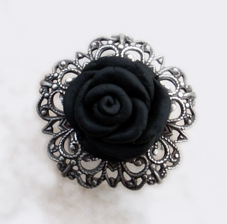 Black Rose Gothic Ring with Silver Filigree Adjustable Band