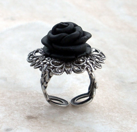 Black Rose Gothic Ring with Silver Filigree Adjustable Band - Aranwen's Jewelry  - 3