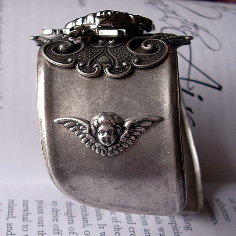 Silver Heart Gothic Watch Cuff with Wings - Aranwen's Jewelry  - 3