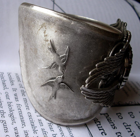 Silver Heart Gothic Watch Cuff with Wings - Aranwen's Jewelry  - 4