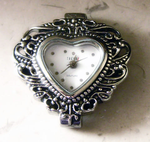 Silver Heart Gothic Watch Cuff with Wings - Aranwen's Jewelry  - 5