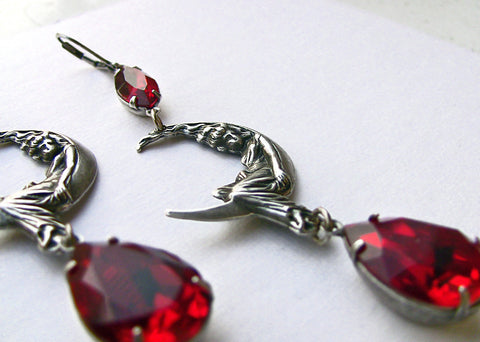 Moon Maiden Earrings with Red Swarovski crystal - Aranwen's Jewelry  - 3
