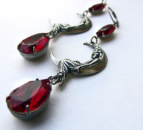 Moon Maiden Earrings with Red Swarovski crystal - Aranwen's Jewelry  - 4