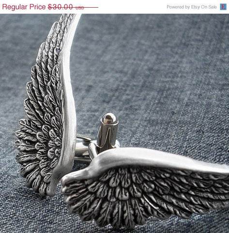 Silver Angel Wings Cufflinks - Aranwen's Jewelry  - 2
