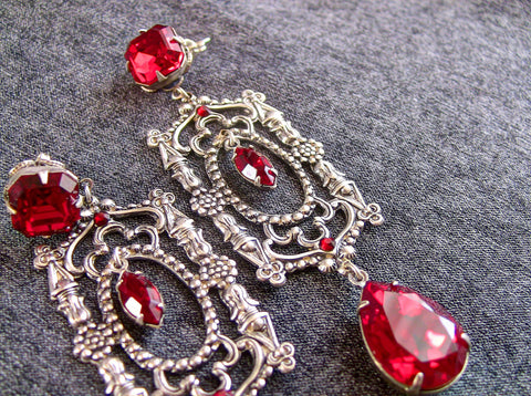 Long Red Swarovski Crystal Drop Earrings - Aranwen's Jewelry  - 3