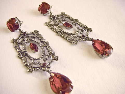 Long Red Swarovski Crystal Drop Earrings - Aranwen's Jewelry  - 2