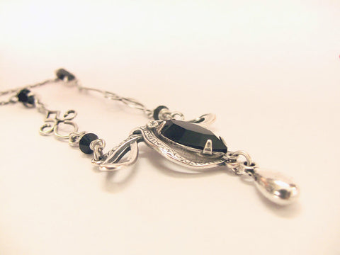 Silver Necklace with Black Swarovski Crystal - Aranwen's Jewelry  - 2