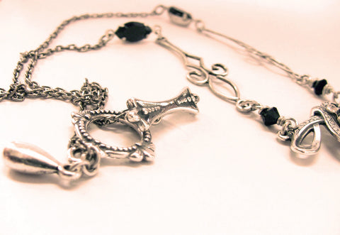 Silver Necklace with Black Swarovski Crystal - Aranwen's Jewelry  - 3