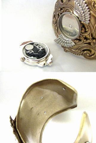 Women's Cuff Watch with Silver Wings and Black Rose - Aranwen's Jewelry  - 5