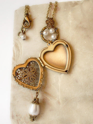 Brass Heart Locket Necklace with White Pearls - Aranwen's Jewelry  - 2