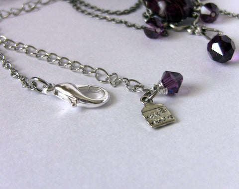 Silver Choker with Purple Jade and Crystals - Aranwen's Jewelry  - 3