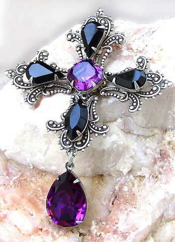 Gothic Cross Pendant with Purple and Black Swarovski Crystals - Aranwen's Jewelry  - 3