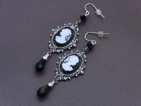 Black Cameo Earrings - Aranwen's Jewelry  - 3
