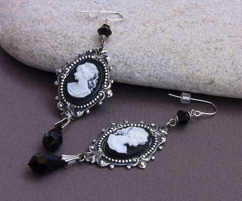 Black Cameo Earrings - Aranwen's Jewelry  - 2