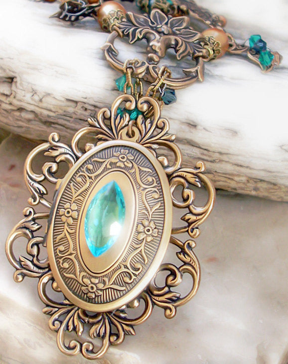 Brass Locket Necklace with Green and Gold Crystals - Aranwen's Jewelry  - 1