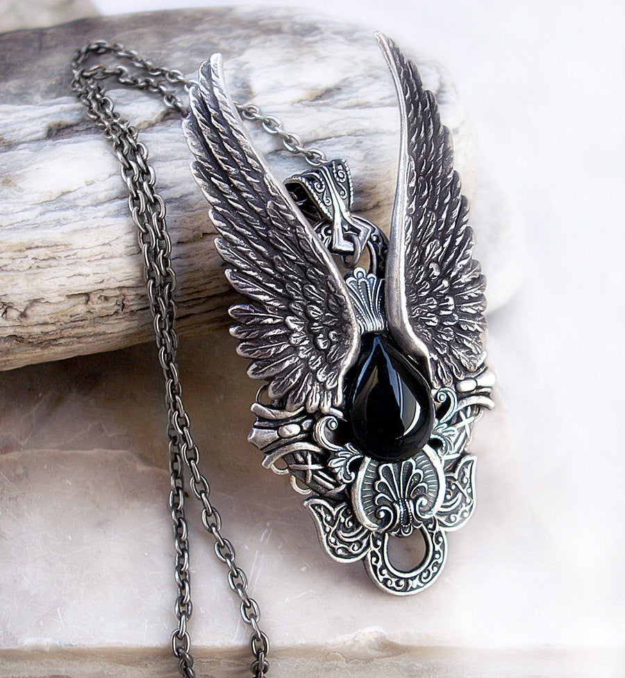 Silver Angel Wings Necklace with Black Onyx - Aranwen's Jewelry  - 1