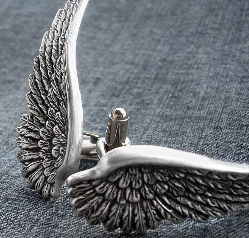 Silver Angel Wings Cufflinks - Aranwen's Jewelry  - 1