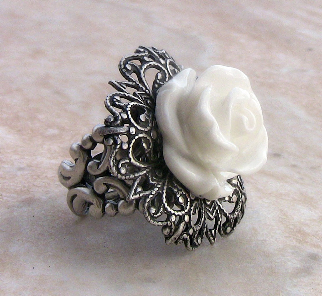 White Rose Ring with Adjustable Silver Filigree Band - Aranwen's Jewelry  - 1