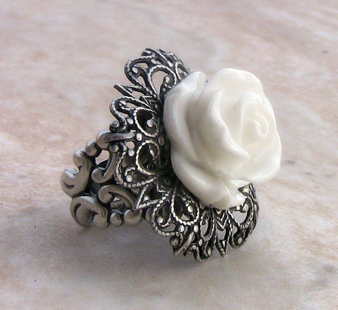 White Rose Ring with Adjustable Silver Filigree Band