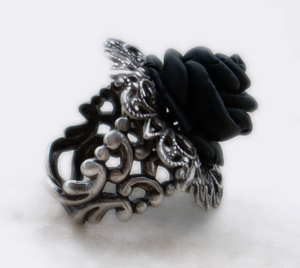 Black Rose Gothic Ring with Silver Filigree Adjustable Band - Aranwen's Jewelry  - 1