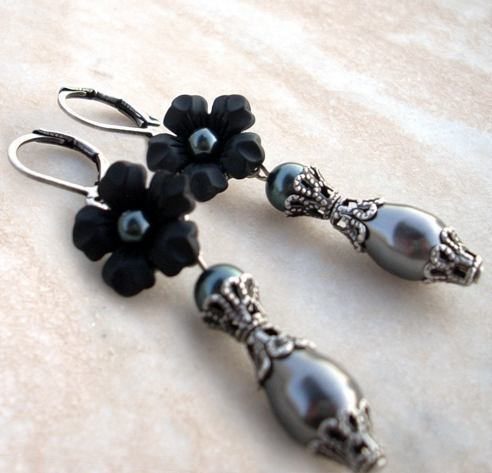 Black Pearl Earrings with Lucite Flowers - Aranwen's Jewelry  - 1