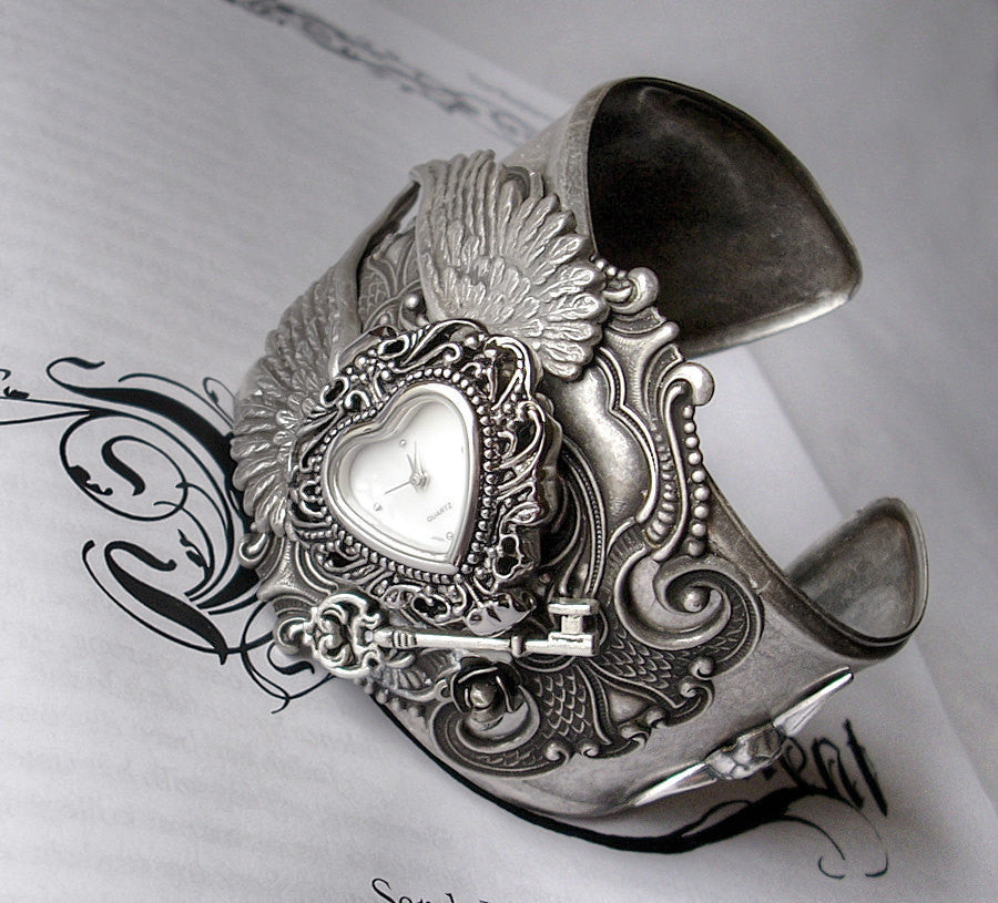Silver Heart Gothic Watch Cuff with Wings - Aranwen's Jewelry  - 1