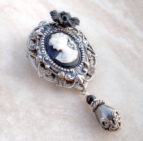 Black Cameo Brooch Pin