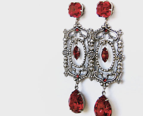 Long Red Swarovski Crystal Drop Earrings - Aranwen's Jewelry  - 1