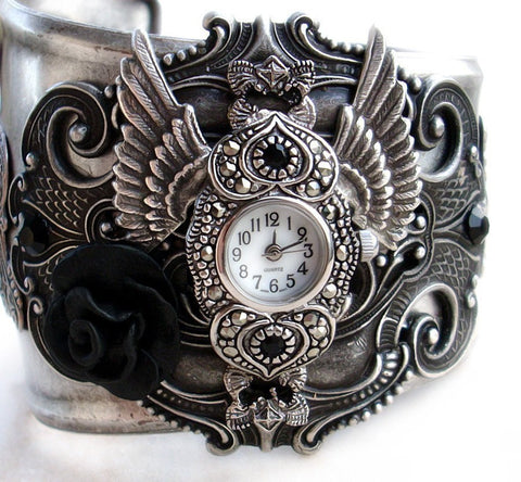 Women's Cuff Watch with Silver Wings and Black Rose - Aranwen's Jewelry  - 1