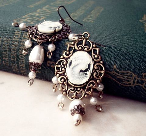 Brass Dangle Earrings with Cameo and White Pearls