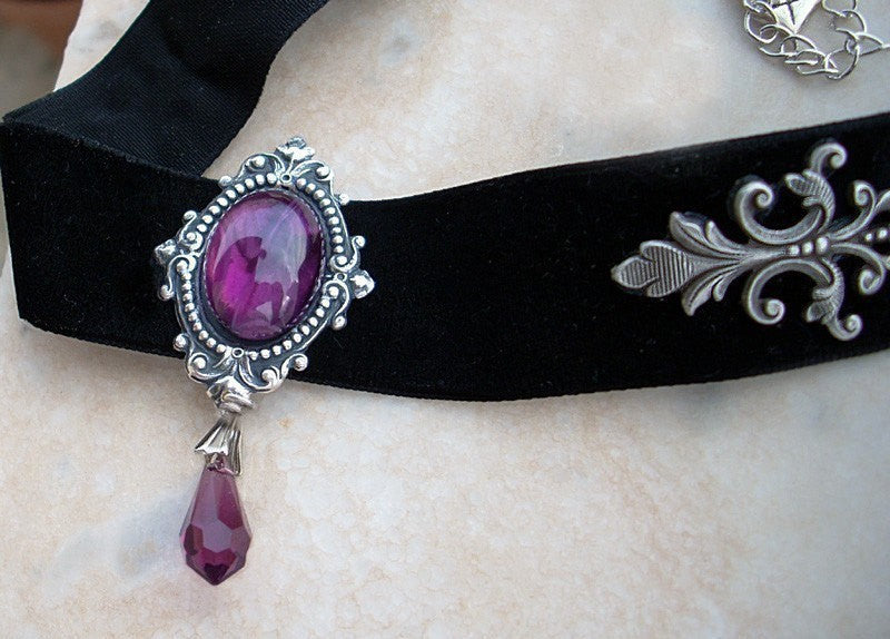 Black Velvet Choker with Purple Glass and Crystal - Aranwen's Jewelry  - 1