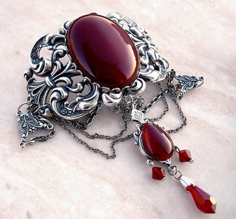 Silver Gothic Choker with Red Agate and Crystals - Aranwen's Jewelry  - 1