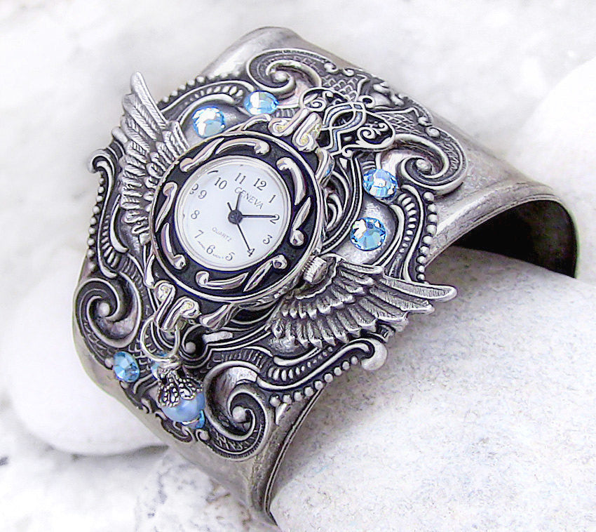 Silver Wings Watch cuff with Aquamarine Crystal - Aranwen's Jewelry  - 1