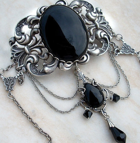 Black Gothic Choker with Onyx and Swarovski Crystals