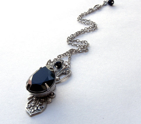 Victorian Black Crystal Drop Necklace - Aranwen's Jewelry  - 2