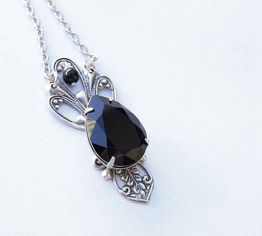 Victorian Black Crystal Drop Necklace - Aranwen's Jewelry  - 1
