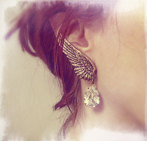Brass Wings Earrings with Swarovski Crystal Drops - Aranwen's Jewelry  - 3