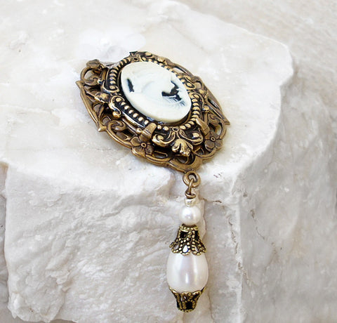 Brass Brooch with White Cameo and Pearls - Aranwen's Jewelry  - 1