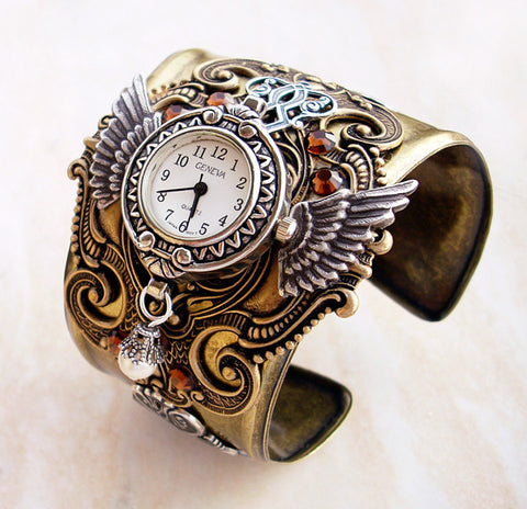 Brass Steampunk Watch Cuff -b - Aranwen's Jewelry  - 2