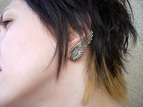 Brass Angel Wing Earrings - Aranwen's Jewelry  - 4