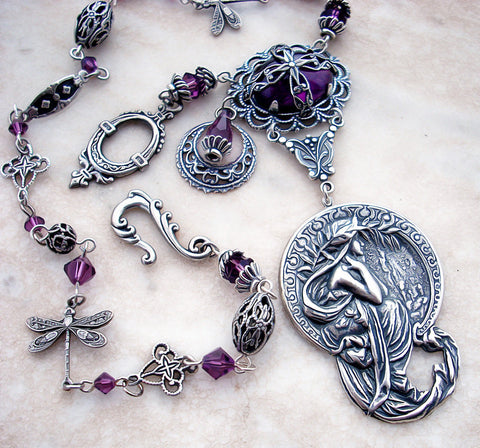 Purple Crystal Fantasy Necklace - Aranwen's Jewelry  - 2